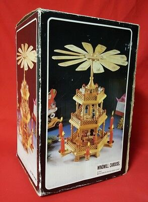 Wooden Pyramid Christmas Around The World Windmill Nativity Carousel New in Box
