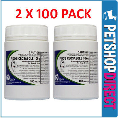 Fidos CLOSASOLE Dog & Cat Worming Tablets 10KG x 100 X 2 BULK BUY