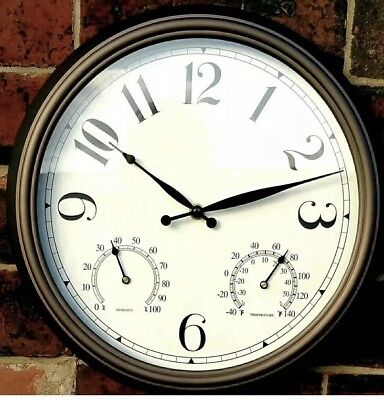 Large Classic Round Indoor/Outdoor Garden Wall Clock With Temperature & Humidity
