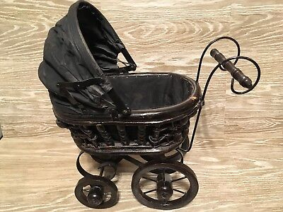 Vintage Wooden Wicker Black Baby Doll Carriage Stroller