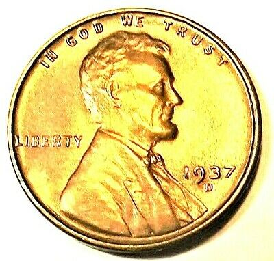 """1937-D Lincoln Wheat 1c""""Beautiful""""CHOICE BU/RED from Genuine OBW roll.99 SHIPS"""