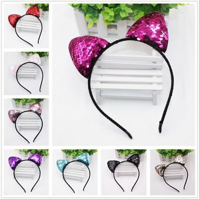 Kids Girls Hair Accessories Cosplay Sequins Head Hoop Cat Ears Headband Headwear