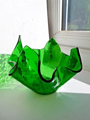 Chance forest green planished handkerchief vase 1950s 60s