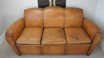 Antique Tan leather Moustache Backed French Sofa Bed