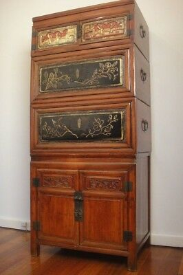 Antique Oriental Chinese Asian Elm Cabinet *Chest on Chest *Storage *Cupboard