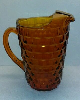 Vintage Heavy Amber Glass Ice Water/Beer Pitcher