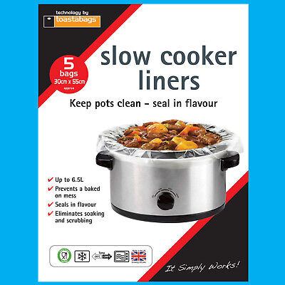 15x Slow Cooker Liners, Transparent, No Mess On Pots Bags, Oval Slow Cookers