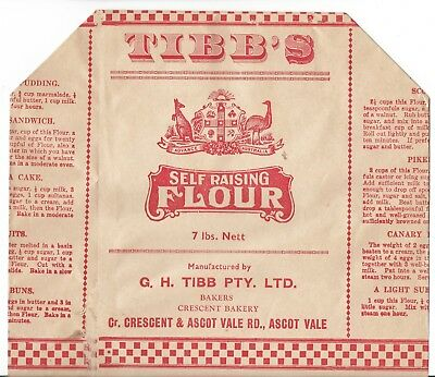 old TIBB'S 7lb SELF RAISING FLOUR unused paper bag - ADVANCE AUSTRALIA ARMS