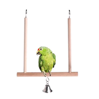 Birds Perch Parrot Play Toy Stand Holder natural Wooden Swing Bell Cage Hang ZJH