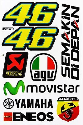 YAMAHA MOVISTAR AGV 46 MOTO-GP Motorcycle Motocross Rossi Vinyl Decals Stickers