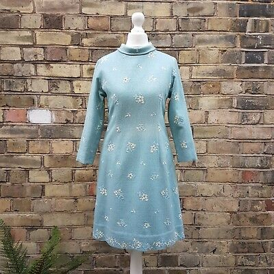 Vintage Dress 50s 60s Baby Blue Floral Embroidery Skating Party Snow Mod | 6