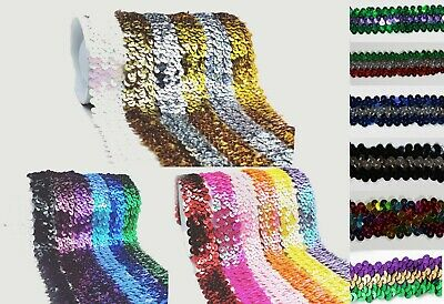 Stunning 3 Row Elastic Stretch Sequin Trim 30 mm