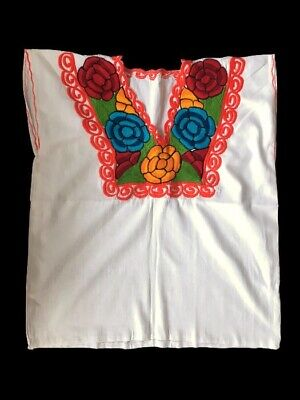 Women's Embroidered Mexican Blouse Handmade White Peasant Top Floral Embroidery