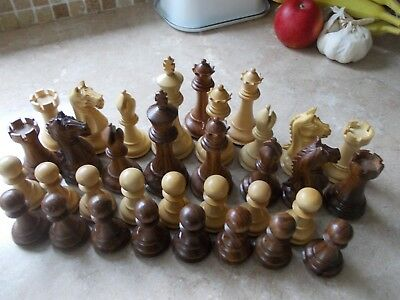 Reproduction Antique Large  Chess Set,intricate Detail,weighted Felted 4 Queens