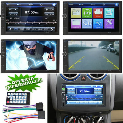 "Autoradio Doppio 2Din 7"" Bluetooth Stereo Touchscreen Mp4 Usb Mp5 Sd Aux"