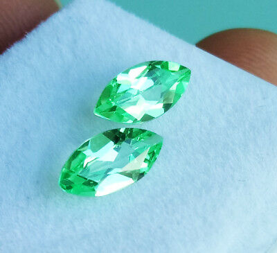 Pair! 2pcs. 8x4mm Excellent Marquise NEON GREEN EMERALD VIVID CUT Great Gems!!