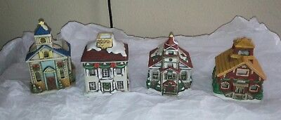 vintage 4 lefton ceramic christmas houses votive candle holders 1986