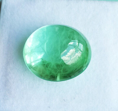 13.25ct. 14x13mm. Oval Round Cabochon NEON GREEN EMERALD Excellent Cut RARE!