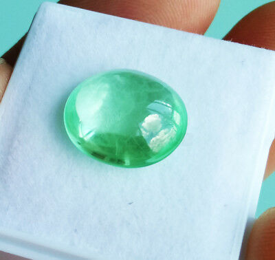 7.50ct. 13x11mm. Oval Cabochon NEON GREEN EMERALD Excellent Cut RARE!