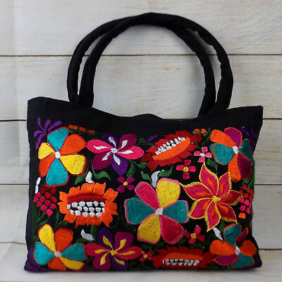 Women's Handmade Floral Embroidered Mexican Purse Bohemian Handbag Gift for Her
