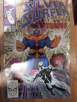 The SILVER SURFER 38 - VF/NM+..1990....Marvel Comics....Thanos