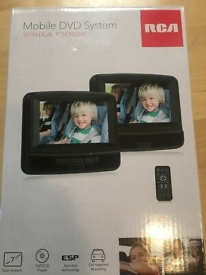 """RCA 7"""" Dual Screen Mobile DVD System with Remote DRC69705E22 New In The BOX"""