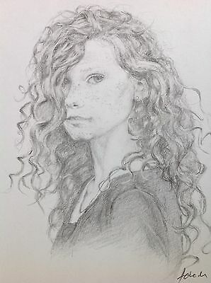 Portrait Of A Young Girl In Pencil, Freckled Face,Original Art,Curly Hair,A4
