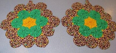 Vintage Fabric 2 YoYo Quilt Top Potholders Brown Green Yellow Floral Unused!