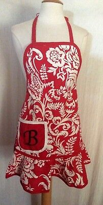 """100% COTTON VINTAGE 1950s INSPIRED MONOGRAM (""""B"""") WOMEN'S APRON-ONE SIZE MOST"""