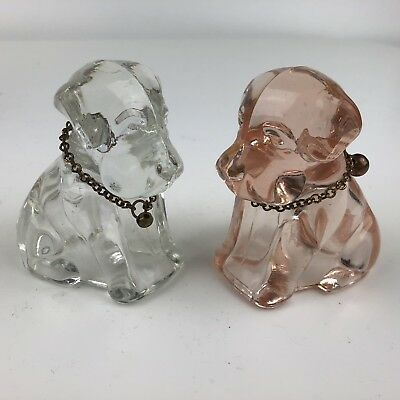 2 Federal Glass Candy Holder Pink And Clear Sad Dogs Circa 1940s Neck Chains