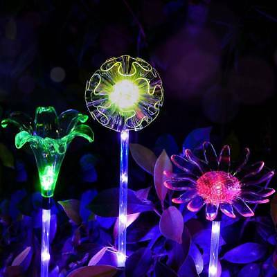 3Pcs Solar Color Changing LED Flower Stake Lawn Light Outdoor Garden Patio Yard