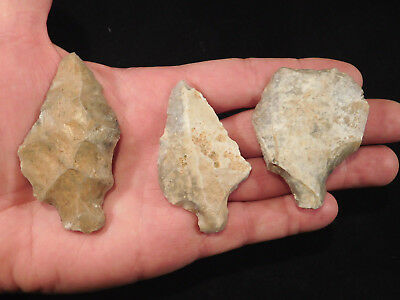 Lot of THREE Big! 55,000 to 12,000 Year Old AAA Aterian Artifacts Algeria 81.4gr