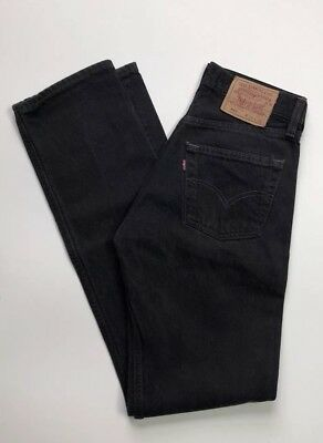 Vintage Levi's 501 Jeans Black High Waist Button Fly Made in USA Size 27