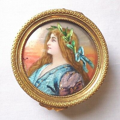 Iridescent French Antique Enameled Portrait Box- Signed By Artist - 19Th Century