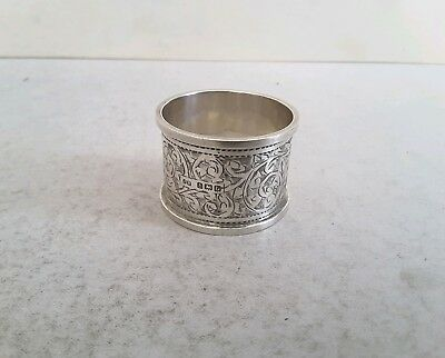 Good, Engraved Vintage Solid Silver Napkin Ring.    Ht. 3.2Cms.     Birm. 1919.