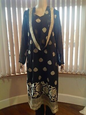 Asian Bollywood Pakistani Punjabi Suit Chest Size 42 Inch Black With Gold Brocad
