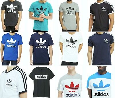 Men's Retro Adidas California Cotton Crew Neck T Shirt Trefoil on Sale.