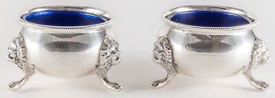 PAIR Antique Sterling Silver Open Salts with Cobalt Glass Liners & LION HEADS