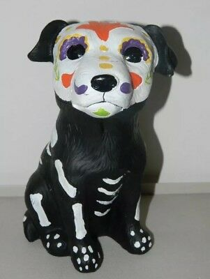"Day of the Dead Sugar Skull Halloween Black Dog Puppy Statue Figurine - 8"" Tall"