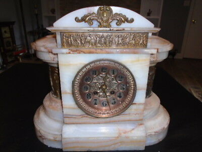 Estate Rare Heavy 36 lb French Marble Shelf Mantle  Clock Marble