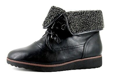 b9ef77146c1b Evans Ada Womens UK 10 EEE Black Lace Up Fleece Lined Lace Up Ankle Boots