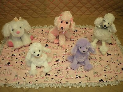 GUC - LOT of POODLES - Five Adorable Stuffed Poodles & Pink Poodle Table Mat