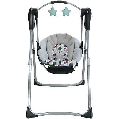 Graco Slim Spaces Compact Baby Swing Etcher Mobile Folding Unisex Infant Toddler