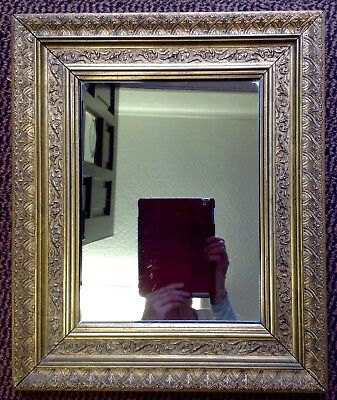Antique Victorian Mirror With Plaster Moulded Over Wood.