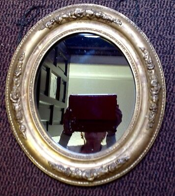 Antique Early Victorian Gilded Oval Mirror Moulded Plaster Over Wood Frame
