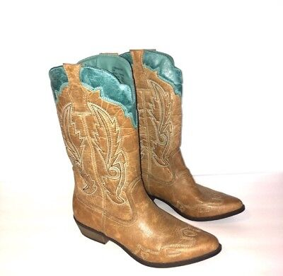 47f50968f35 COCONUTS BY MATISSE CIMMARON Western Cowboy Boots Women's Size 8 M Brown /  Teal
