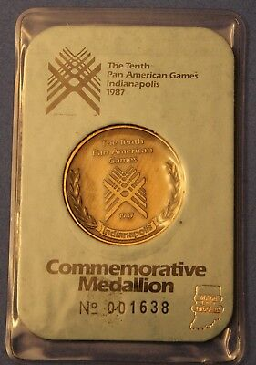 1987 10th Pan American Games Commemorative Medallion~Indianapolis~Number 1638~FS
