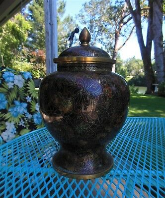 Large Antique Floral Chinese Chinoiserie Cloisonne Enamel Bronze Ginger Jar 12+