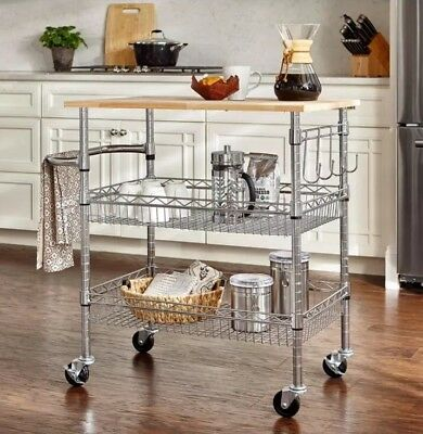 Gatefield Chrome Large Kitchen Cart Island With 2 Wire Basket Towel Rack 4 Hooks