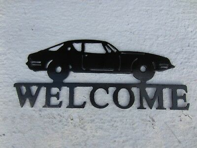 "sign Avanti Studebaker WELCOME metal 14 X 5.5"" cutout outline painted black used"